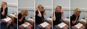 Handout photos taken from YouTube footage of Joanne Milne, who was deaf since birth and having never heard a sound, as she hears for the first time