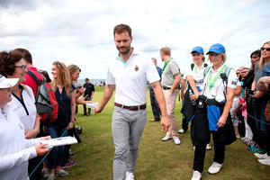 Jamie Dornan during the Pro-Am day of the Dubai Duty Free Irish Open at Portstewart Golf Club. Niall Carson/PA Wire.