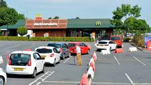 The queue for McDonalds in Bangor yesterday