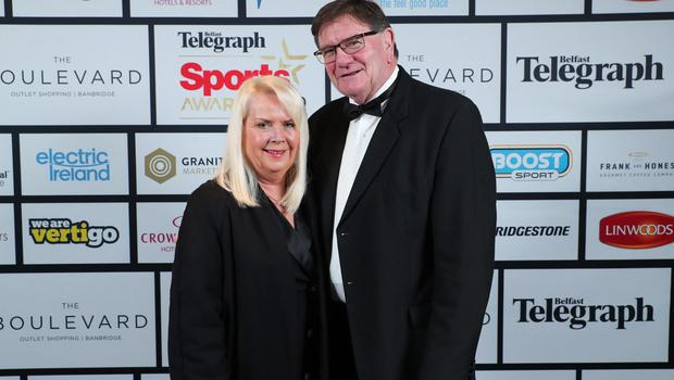 Press Eye - Belfast - Northern Ireland - 20th January  2020    Heather and Willie Anderson pictured at the 2019 Belfast Telegraph Sport Awards at the Crowne Plaza Hotel in Belfast.  Photo by Kelvin Boyes / Press Eye.
