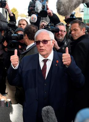 Trevor Hicks, whose daughters Sarah and Vicki died in the Hillsborough disaster, gives a thumbs up outside the Hillsborough Inquest in Warrington, where the inquest jury concluded that the 96 Liverpool fans who died in the Hillsborough disaster were unlawfully killed. PRESS ASSOCIATION Photo. Picture date: Tuesday April 26, 2016. See PA story INQUEST Hillsborough. Photo credit should read: Joe Giddens/PA Wire