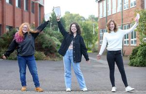 Press Eye - Belfast - Northern Ireland - 20th August 2020  Pupils across Northern Ireland receive the GCSE results.    Bloomfield Collegiate pupils pictured at the school after receive their results.   Left two right.  Annie Press - five x A and four x A Star - Rebekah Newnes - three x A Star, four x A and two x B - and Megan Russell - six x A Star and four x A.  Picture by Jonathan Porter/PressEye