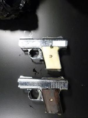 Handguns seized during the searches in Co Armagh. Credit: PSNI