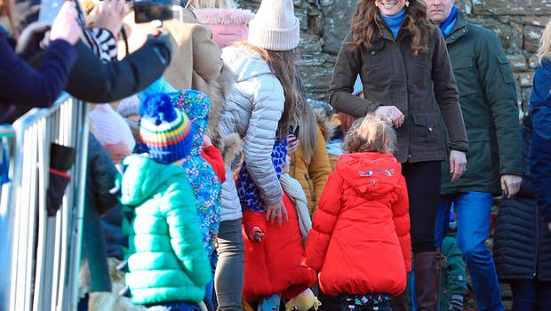 The Duchess of Cambridge meets members of the public at the Ark Open Farm, in Newtownards, near Belfast, during a visit to meet with parents and grandparents to discuss their experiences of raising young children for her Early Childhood survey. PA Photo. Picture date: Wednesday February 12, 2020. See PA story ROYAL Kate. Photo credit should read: Peter Byrne/PA Wire