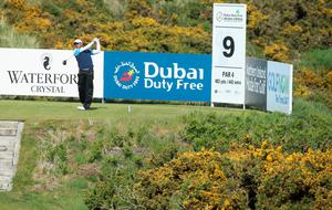 NEWCASTLE, NORTHERN IRELAND - MAY 28:  Pablo Larrazabal of Spain tees off on the 9th hole during the First Round of the Dubai Duty Free Irish Open Hosted by the Rory Foundation at Royal County Down Golf Club on May 28, 2015 in Newcastle, Northern Ireland.  (Photo by Andrew Redington/Getty Images)
