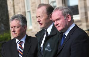 PACEMAKER PRESS BELFAST 10-03-2009: The First Minister Peter Robinson was joined by the Deputy First Minister Martin McGuinness and Chief Constable Sir Hugh Orde at a press conference at Belfast Stormont Castle. They condemned the murdered  policeman Constable Stephen Paul Carroll, 48, a married man with children from the Banbridge area of County Down Northern Ireland . PICTURE BY: ARTHUR ALLISON.