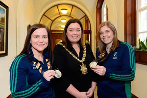 Honoured: Ireland captain Katie Mullan (right) and most capped player Shirley McCay with Lord Mayor of Belfast Deirdre Hargey at a special reception for the team yesterday at City Hall