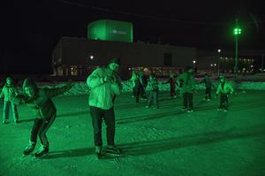 Also in Finland, the Oulu Theatre and Harbour ice rink changed colour (Tourism Ireland/PA)