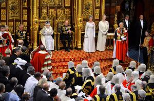 Queen Elizabeth delivers her speech at the State Opening of Parliament, in central London alongside the Duke of Edinburgh. PRESS ASSOCIATION Photo. Picture date: Wednesday May 8, 2013. See PA story POLITICS Speech. Photo credit should read: Toby Melville/PA Wire