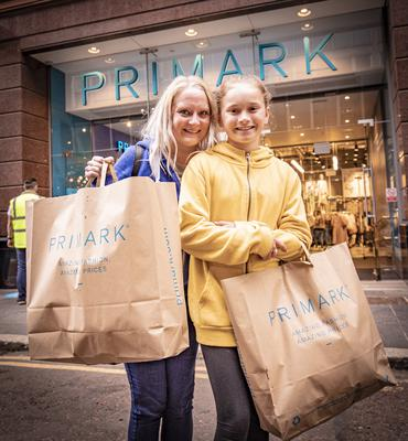 Seventh in the queue were Emma McStravick from Belfast and her daughter Meabh as Primark in Belfast city centre reopens on June 18th 2020 (Photo by Kevin Scott for Belfast Telegraph)