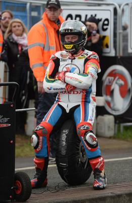 John McGuinness during todays races at the 2014 Vauxhall International North West 200 on the North Coast. Photo Stephen Davison/Pacemaker