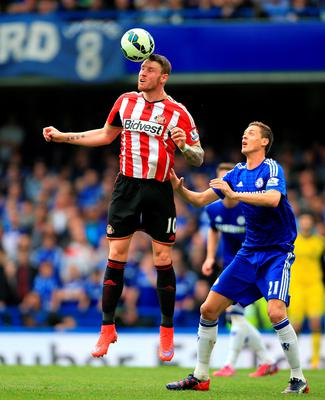 Sunderland's Connor Wickham (left) and Chelsea's Nemanja Matic in action during the Barclays Premier League match at Stamford Bridge, London. Nick Potts/PA Wire.