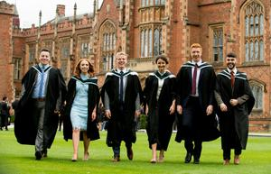 Celebrating graduation success at Queens University are (L-R) Matthew Thompson, Ruth Irvine, Jordan McBurney, Louisa Hanna, Peter Keys, Iain Irwin who all graduated with a degree in Theology.