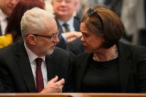 Labour Party leader Jeremy Corbyn and Sinn Fein leader Mary Lou McDonald before the funeral service for murdered journalist Lyra McKee at St Anne's Cathedral in Belfast. PRESS ASSOCIATION Photo. Picture date: Wednesday April 24, 2019. Miss McKee, 29, died as a result of injuries sustained when she was shot on the Creggan estate on April 18. See PA story FUNERAL McKee. Photo credit should read: Brian Lawless/PA Wire