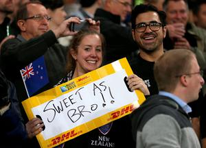 New Zealand fans in the stands during the Rugby World Cup match at the Olympic Stadium, London.