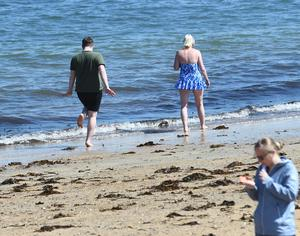 Pacemaker Press 7/5/2017 Enjoying the sunshine   at Helen's Bay Beach in Co Down , during the warm weather across Northern Ireland on Sunday. Pic Colm Lenaghan/Pacemaker