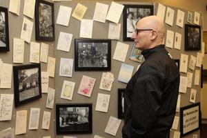 21/10/18 PACEMAKER PRESS An exhibition was opened to commerate the victims of the Shankill Bombing in the Methodist Church on the shankill Road. Billy Hutchinson looks at exhibition. PICTURE MATT BOHILL PACEMAKER PRESS