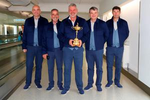 LONDON, ENGLAND - SEPTEMBER 26:  Captain of Europe, Darren Clarke poses with four of his vice-captains (L-R) Thomas Bjorn, Sam Torrance, Paul Lawrie and Padraig Harrington before departing Heathrow Airport Terminal 5 ahead of the 2016 Ryder Cup on September 26, 2016 in London, England.  (Photo by Andrew Redington/Getty Images)