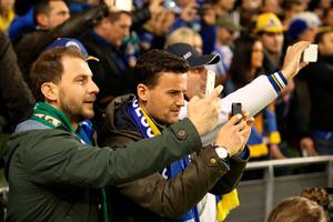 DUBLIN, IRELAND - NOVEMBER 16:  Bosnia and Herzegovina fans take pictures of there team warming up prior to kickoff during the UEFA EURO 2016 Qualifier play off, second leg match between Republic of Ireland and Bosnia and Herzegovina at the Aviva Stadium on November 16, 2015 in Dublin, Ireland.  (Photo by Ian Walton/Getty Images)