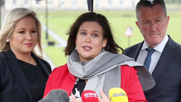 Leader of Sinn Fein Mary Lou McDonald, Michelle O'Neill and Conor Murphy, press conference, NIO, Stormont. Photograph by Declan Roughan