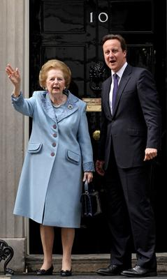 LONDON - JUNE 8:  (FILE PHOTO)  Baroness Margaret Thatcher, 85, Britain's Prime Minister from 1979 to 1990, Reports on April 8, 2013 state that Baroness Thatcher has died following a stroke.. Please refer to the following profile on Getty Images Archival for further imagery.  http://www.gettyimages.com/Search/Search.aspx?EventId=108930459&EditorialProduct=Archival   British Prime Minister David Cameron greets former Prime Minister Baroness Thatcher on the steps of Number 10 Downing Street on June 8, 2010 in London, England.  (Photo by Oli Scarff/Getty Images)
