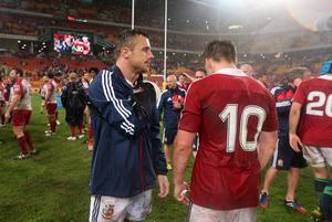 BRISBANE, AUSTRALIA - JUNE 08:  Tommy Bowe of the Lions, walks onto the pitch with his right arm in a sling after the match between the Queensland Reds and the British & Irish Lions at Suncorp Stadium on June 8, 2013 in Brisbane, Australia.  (Photo by David Rogers/Getty Images)