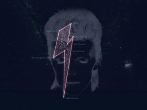 A grab from the Stardust for Bowie site, which shows the constellation as seen from the Earth and allows people to pay tribute to the artist http://stardustforbowie.be/