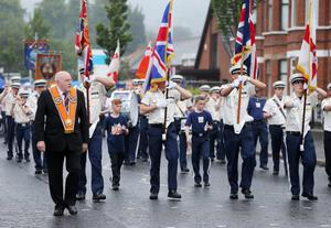 Loyalist protesters and PSNI officers at the Twaddell Avenue interface at Ardoyne, north Belfast this morning. Photograph by Kelvin Boyes / Press Eye