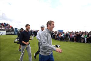 Jamie Dornan, Justin Rose, Jimmy Nesbitt and tee off