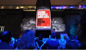 LONDON, UNITED KINGDOM - JUNE 12: General view of a film projection at agit8 at Tate Modern, ONE's campaign ahead of the G8 on June 12, 2013 in London, England. (Photo by Stuart C. Wilson/Getty Images)