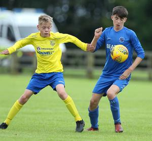 PressEye-Northern Ireland- 29th July  2019-Picture by Brian Little/PressEye Dungannon United Sam Anderson   and Ballinamallard United Dylan Boyle  in the Minor section of the STATSports SuperCupNI , at University, Coleraine. Picture by Brian Little/PressEye
