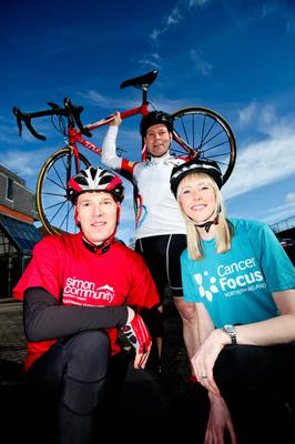 Pictured (l-r) are John Tully, Simon Community Northern Ireland's Corporate Fundraising Committee; Paul McToal, Fujitsu and FROG organiser and Maeve Colgan, Cancer Focus NI