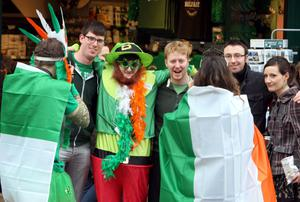 People enjoy the St Patrick's day parade through Belfast city centre on St Patrick's day. PRESS ASSOCIATION Photo. Picture date: Sunday March 17, 2013. Photo credit should read: Paul Faith/PA Wire