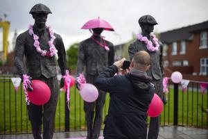 Day one of the 2014 Giro d'Italia Belfast. Newtownards Road goes pink