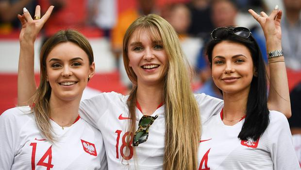 Poland's fans cheer prior to the Russia 2018 World Cup Group H football match between Poland and Senegal at the Spartak Stadium in Moscow on June 19, 2018.