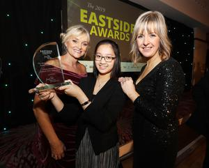 Eastside Awards Winners 2019   CAPTIONS  Young Person of the Year Coleen Bergantinos, a pupil at Ashfield GirlsÕ High School, with her teacher Tracy Rossborough and awards host Tara Mills