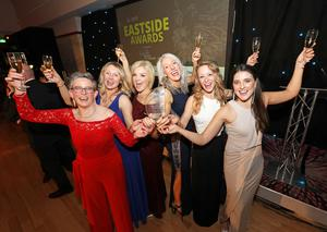Eastside Awards Winners 2019   CAPTIONS  Eastside Award winners for Business Growth, Sonia McCay and Gillian Duggan of Belfast Pilates & Physiotherapy, and all of the team, Denise O'Hagan, Jane Carson, Rachel Norwood and Sinead Boyle
