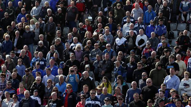 PACEMAKER BELFAST  17/05/2018 North West 200 2018 Packed grandstands during this evenings Supersport race in the Vauxhall International North West 200.  Photo Stephen Davison/Pacemaker Press