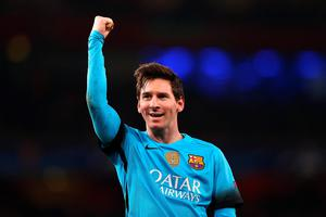 Barcelona's Lionel Messi celebrates scoring his sides second goal of the game from the penalty spot during the UEFA Champions League match at the Emirates Stadium, London. PRESS ASSOCIATION Photo. Picture date: Tuesday February 23, 2016. See PA story SOCCER Arsenal. Photo credit should read: Adam Davy/PA Wire