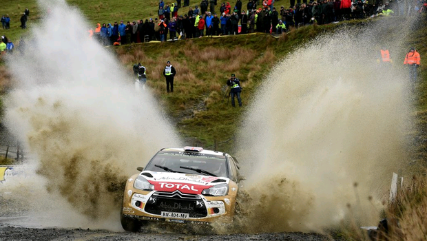 Kris Meeke of Great Britain and Paul Nagle of Ireland compete in their Citroen Total Abu Dhabi WRT Citroen DS3 WRC during Day One of the WRC Great Britain on November 14, 2014 in Deeside, United Kingdom.  (Photo by Massimo Bettiol/Getty Images)