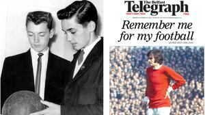 George Best in the Belfast Telegraph newsroom in 1961 (left) and the front page of the Belfast Telegraph following his death in November 2005 (right).