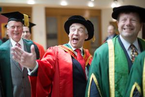 Paul Clark, television presenter and journalist received the honorary degree of Doctor of Laws (LLD) for distinguished services to broadcasting and charity. (Photo: Nigel McDowell/Ulster University)