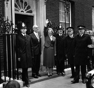 New premier Thatcher clashed with ministers...  File photo dated 04/05/1979 of Margaret Thatcher waving from the doorstep of Number 10 Downing Street. PRESS ASSOCIATION Photo. Issue date: Wednesday December 30, 2009. Thatcher swept into Downing Street determined to push through a programme of swingeing spending cuts and radical economic reform. But official papers released today by the National Archives in Kew, west London, under the 30-year rule show how the new Conservative Prime Minister initially struggled to impose her vision on her Cabinet colleagues. See PA story RECORDS Thatcher. Photo credit should read: PA Wire...A