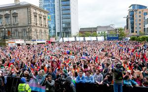 Picture -  Kevin Scott / Presseye  Belfast - Northern Ireland - Saturday 1st August 2015 - Pride Party in the Square  Pictured is the pride party in the square at the Custom house square in Belfast  Picture - Kevin Scott / Presseye