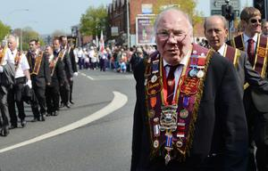 The Easter Monday Apprentice Boys parade took place in east Belfast. After an act of remembrance at the Belmont Road memorial, 3,000 members from 70 branches, accompanied by 50 bands, marched from Tommy Patton Fields to Ormeau Embankment through the City. Picture By: Arthur Allison.