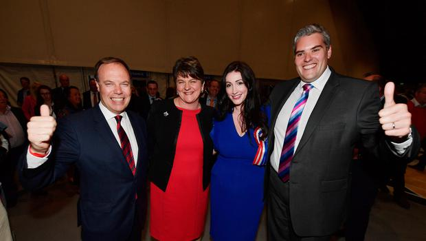 DUP leader Arlene Foster with Nigel Dodds, Emma Little Pengelly and Gavin Robinson at the 2017 General Election count. The party could see its Westminster representation changed at the December poll. (Photo by Charles McQuillan/Getty Images)