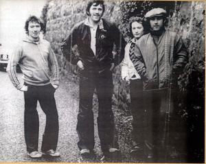 PACEMAKER, BELFAST, 3/7/2000: The Armoy Armada. Joey Dunlop (left) with the other members of the Armoy Armada Frank Kennedy, Jim Dunlop and Mervyn Robinson.  Kennedy and Robinson were both killed at the North West 200 in 1976.