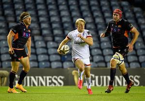 Ulster's Rob Lyttle runs in an incredible solo try as they saw off Edinburgh to reach the Guinness PRO14 final (INPHO/Ian Rutherford)