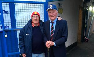 Respect: Groundsman Tommy Doherty joined by the late Manchester United and Northern Ireland legend Harry Gregg at the Coleraine Showgrounds