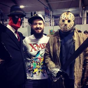 Stephen Currie as 'mobster' Deadpool (left) and Jason Voorhees Friday the 13th series